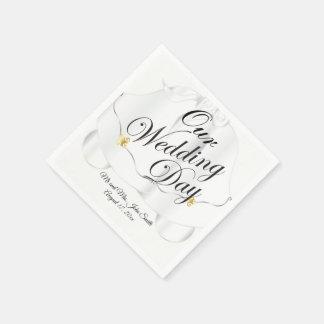 Onze Klokken van de Dag van het Huwelijk Papieren Servetten