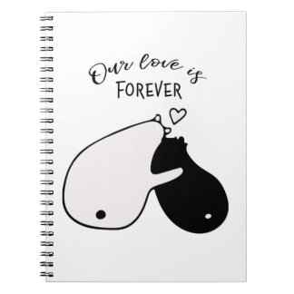 Onze liefde is voor altijd zwart-wit draagt notitieboek