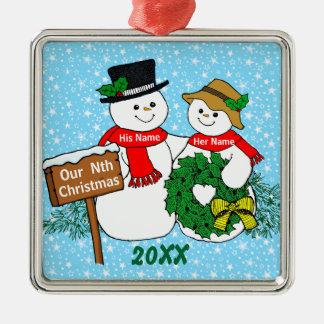 Onze Nth Kerstmis Zilverkleurig Vierkant Ornament