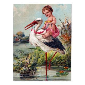 Ooievaar en Baby vanaf 1909 Briefkaart