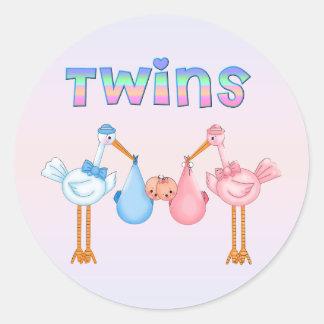 Ooievaar met Tweelingen Ronde Stickers