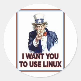Oom Sam: Gebruik Linux Ronde Sticker