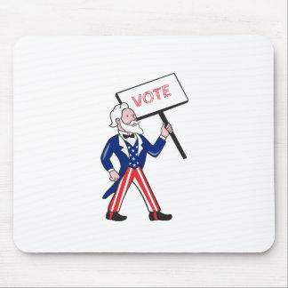 Oom Sam Placard Vote Standing Cartoon Muismat