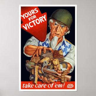 Oom Sam -- Van u voor Overwinning -- WO.II Poster