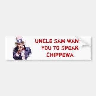 Oom Sam Wants YOU om Chippewa te spreken Bumpersticker