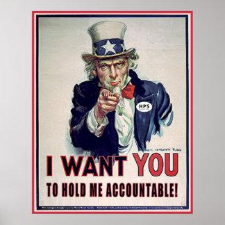 Oom Sam zegt 'me Accountable houd Poster