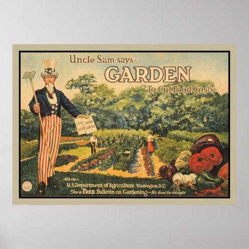 Oom Sam zegt: tuin om voedselkosten te snijden Plaat