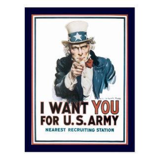 Oorlog 2 van oom Sam Wants You Wereld Briefkaart