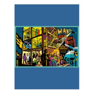 Oorlog in het Art. van de Cartoon van de Buurt Briefkaart