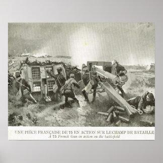 Oorlog van de wereld 1, Franse artillerie in actie Poster