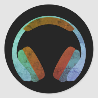 Oortelefoons Emoji Ronde Sticker