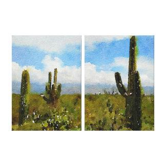 Oosten van het Park van Saguaro het Nationale - Canvas Print