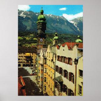 Oostenrijk, Innsbruck, Tirol, Gouden dak, oude Poster