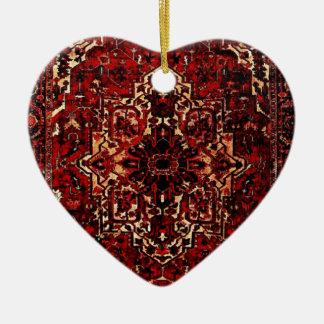 Oosters dekenontwerp in donkerrood keramisch hart ornament