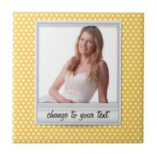 op witte & zonnige gele polkadot keramisch tegeltje