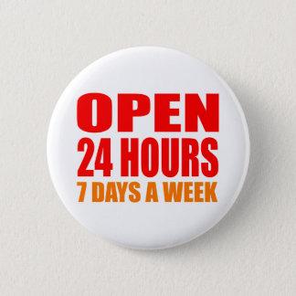 Open 24 Uren Ronde Button 5,7 Cm
