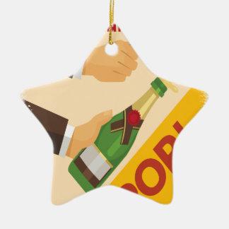 Open dat Nacht - de Dag van de Appreciatie bottelt Keramisch Ster Ornament
