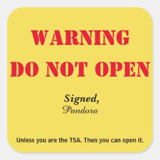 """""""Open"""" geen Bagage Vierkante Sticker"""