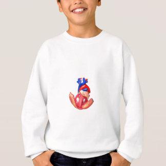 Open model menselijk hart op witte achtergrond trui