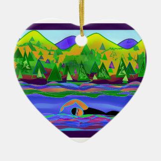 Open Water solo Keramisch Hart Ornament