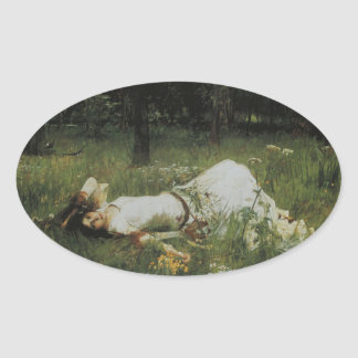 Ophelia [John William Waterhouse] Ovale Sticker