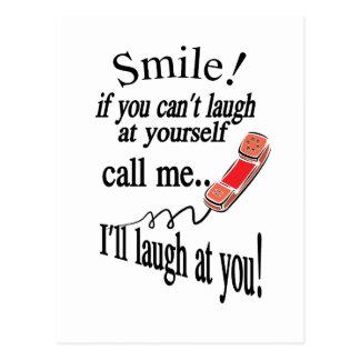 Oproepen me, zal ik bij u lachen. Cynisch en zeer Briefkaart