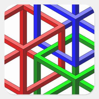 Optische illusie van de Meetkunde van kubussen de Vierkante Sticker