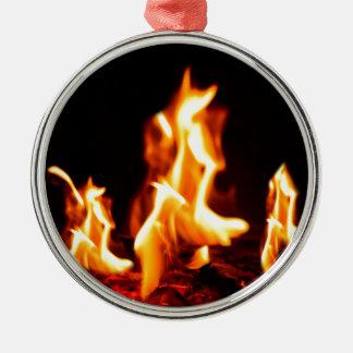 Opvlammende vlammen zilverkleurig rond ornament