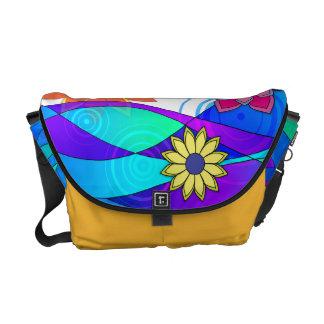 Opzichtige Bloemen & Golven Messenger Bags