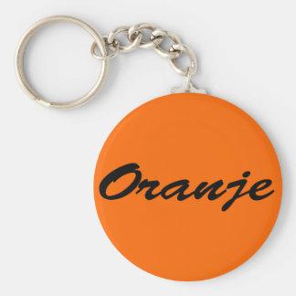 Oranje Basic Ronde Button Sleutelhanger