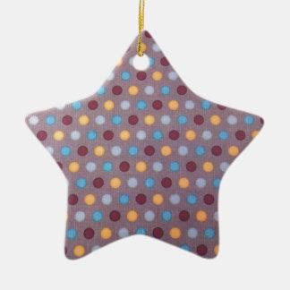 Oranje blauw kastanjebruin stip keramisch ster ornament