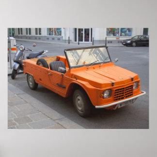 Oranje Citroën Mehari Poster