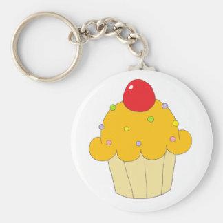 Oranje Cupcake Basic Ronde Button Sleutelhanger