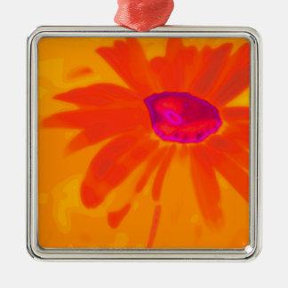 Oranje Daisy Zilverkleurig Vierkant Ornament