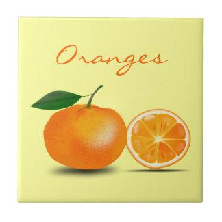 Oranje Eenvoudig en Klassiek Fruit en Oranje Plak Keramisch Tegeltje