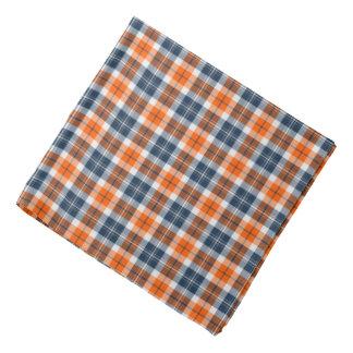 Oranje en Blauwe Sportieve Plaid Bandana
