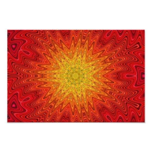 Oranje en Gele Zon/Ster/Hart Mandala Fotoafdruk