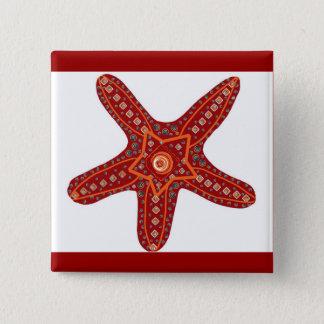 oranje en rode zeester vierkante button 5,1 cm
