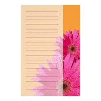 Oranje en Roze Gerbera Daisy Stationery Briefpapier Papier