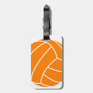Oranje en Wit Volleyball Kofferlabels