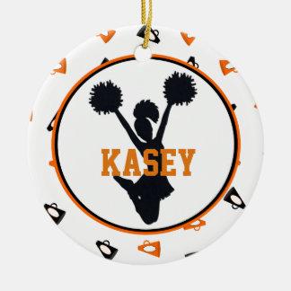 Oranje en Zwarte Megafoons Cheerleader Rond Keramisch Ornament