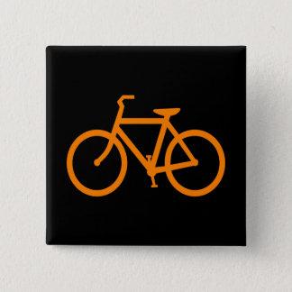 Oranje Fiets Vierkante Button 5,1 Cm