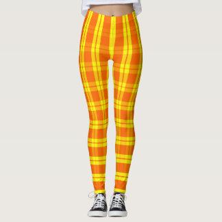 Oranje/Gele Verticaal, Plaid, Horizontale Leggings
