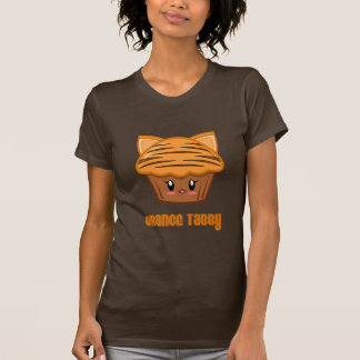 Oranje Gestreepte kat Cupcake T Shirt