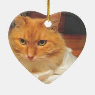 Oranje Gestreepte kat Keramisch Hart Ornament