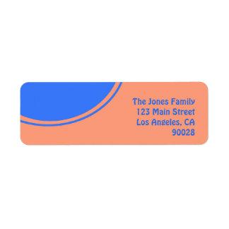 Oranje helder blauw mod.ontwerp etiket