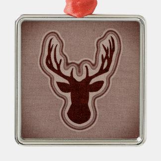 Oranje het Gloeien van het Canvas Herten Zilverkleurig Vierkant Ornament