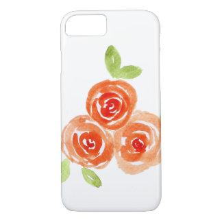 Oranje iphonehoesje van watercolourrozen iPhone 8/7 hoesje
