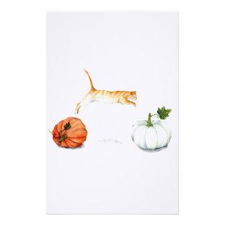 Oranje Kat die tussen Pompoenen springen Briefpapier