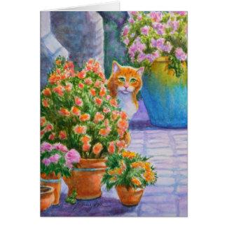 Oranje Kat met de Potten van de Bloem Briefkaarten 0
